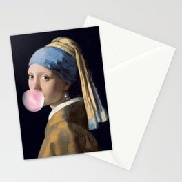 Girl with a bubble gum Stationery Cards