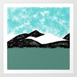 Artistic teal black white olive green watercolor mountain Art Print