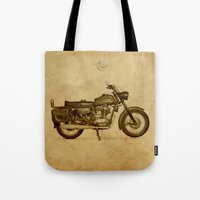 ducati Tote Bags featuring Ducati motorcycle Meccanica by Larsson Stevensem