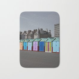 Colorful beach huts Bath Mat