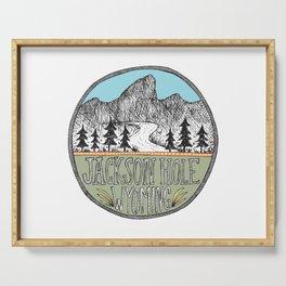 Jackson Hole circle illustration Serving Tray