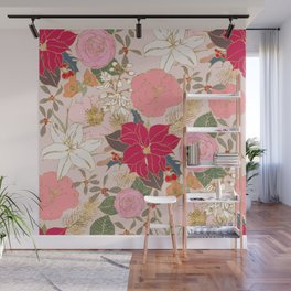 Elegant Golden Strokes Colorful Winter Floral Wall Mural