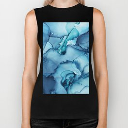 The Blue Abyss - Alcohol Ink Painting Biker Tank