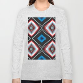 Colorful patchwork mosaic oriental kilim rug with traditional folk geometric ornament. Tribal style Long Sleeve T-shirt