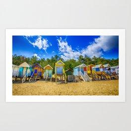 Coloured Beach Huts Art Print