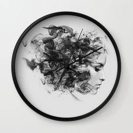 women and smoke, black and white Wall Clock