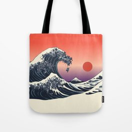 The Great Wave of Black Pug Tote Bag
