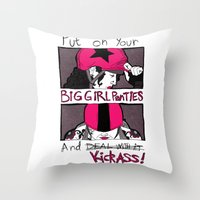 roller derby Throw Pillows featuring Roller Derby  by Rachel M. Loose