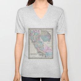 Vintage Map of California (1855) Unisex V-Neck