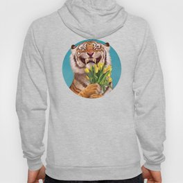 Smiling (shy) Tiger - holding bouquet (tulip) Hoody