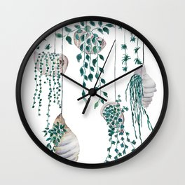 hanging plant in seashell Wall Clock