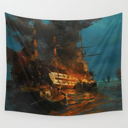 The Burning of a Turkish Frigate Wall Tapestry