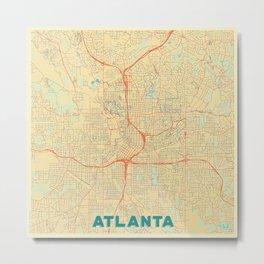 Atlanta Map Retro Metal Print