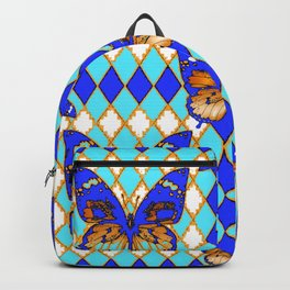 ARGYLE ABSTRACTED  BROWN SPICE  MONARCHS BUTTERFLY & BLUE-WHITE Backpack