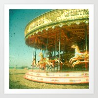 carousel Art Prints featuring Carousel by Cassia Beck