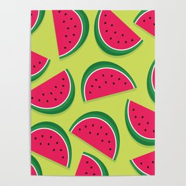 Juicy Watermelon Slices Poster