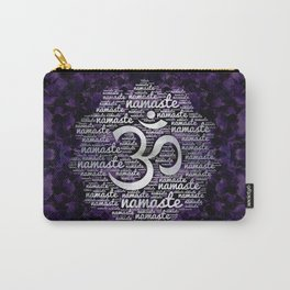 Pearl Namaste Word Art in Lotus with OM symbol on amethyst Carry-All Pouch