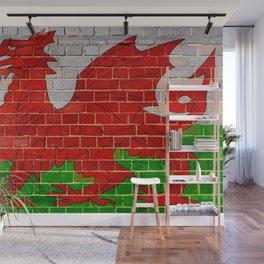 Wales flag on a brick wall Wall Mural