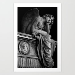Giulio Monteverde and the Angel of the Night in Campo Verano black and white photograph / art photography Art Print