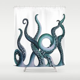 Kraken Teal Shower Curtain