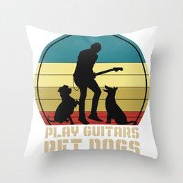 Guitar Vintage Pet Dogs Throw Pillow