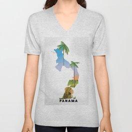 Panama map travel poster. Unisex V-Neck