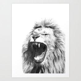Black White Fierce Lion Art Print