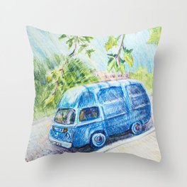 Summer landscape with a mini bus sketch colored pencils Throw Pillow