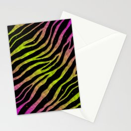 Ripped SpaceTime Stripes - Pink/Lime Stationery Cards