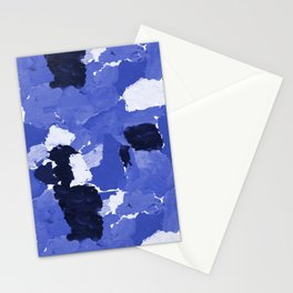 Kenni - abstract paint palette blue white navy bright modern gender neutral painting brushstrokes  Stationery Cards