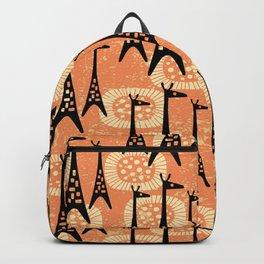 Mid Century Modern Giraffe Pattern Black and Orange Backpack