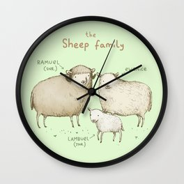The Sheep Family Wall Clock