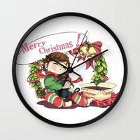 hiccup Wall Clocks featuring Merry Christmas from Hiccup and Toothless by Clgtart