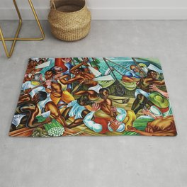 "African American Classical Masterpiece ""The Mutiny on the Amistad"" by Hale Woodruff Rug"