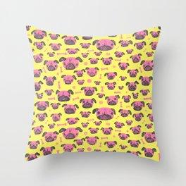 Pug Life  - Yellow and pink Throw Pillow