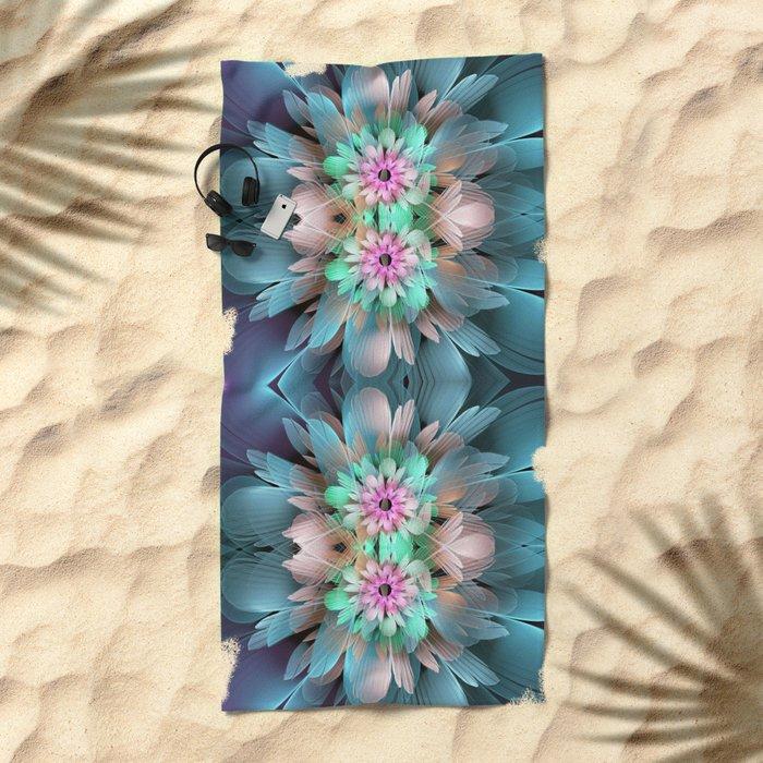 Soft coloured Twin Flowers Beach Towel