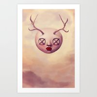 emoji Art Prints featuring EMOJI 5 by Ryan Laing