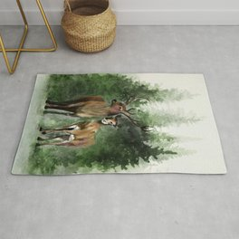 Deers in the Forest Rug