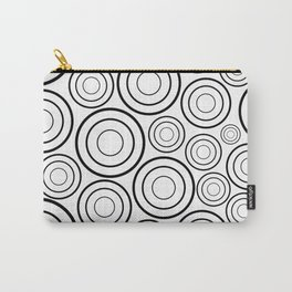 Black and white concentric Circle Pattern Carry-All Pouch