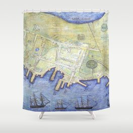 Vintage Map of Falmouth Neck Maine (1775) Shower Curtain