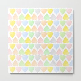 Candy Hearts Pattern Metal Print