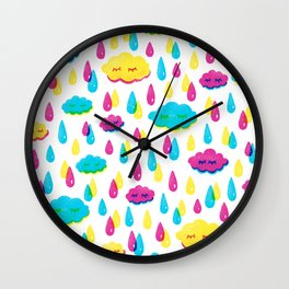 Bright Screenprint-Style Rainstorm with Cute Clouds Wall Clock