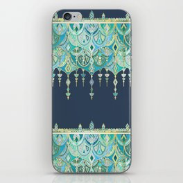 Art Deco Double Drop in Blues and Greens iPhone Skin