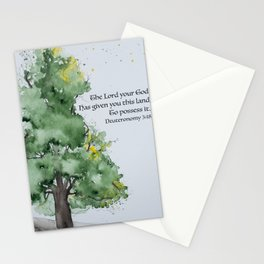 Watercolor painting of Oak tree with Bible verse Stationery Cards
