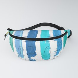 Lipstick Stripes - Blue Teal Turquoise Fanny Pack