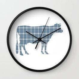 Cow: Neutral Blue Plaid Wall Clock