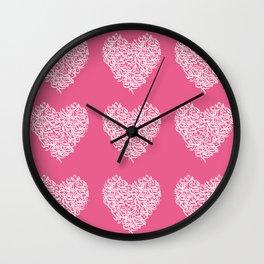 small harts arabic letters pink Wall Clock