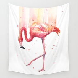 Pink Flamingo Watercolor Tropical Bird Wall Tapestry