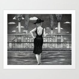 Untitled - Charcoal Drawing - charcoal drawing - female figure, glamorous, industry, beauty, pretty Art Print