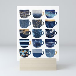 Pretty Blue Coffee Cups Mini Art Print